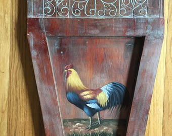 Painted Rooster on Carved Wood Wall Plaque