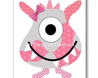 Monster Nursery Art for Children Printable Digital Print Baby Girl Nursery Print Digital Download Print 8x10 11X14 INSTANT DOWNLOAD rose