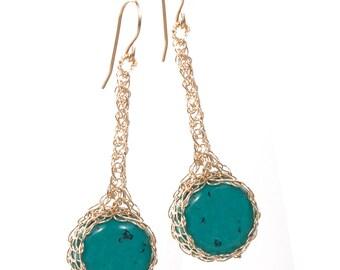 BOHO Turquoise Earrings,  Gemstone earrings, Gold turquoise earring, Turquoise gift for her, Long dangle earrings, Unique turquoise jewelry