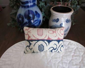 Primitive Antique Coverlet Pillow, Rose, Navy & Cream