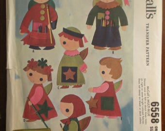 Vintage 1962 McCall's 6558 Felt Angels Tote Bags and Christmas Tree Skirt Pattern Plus net tree pattern