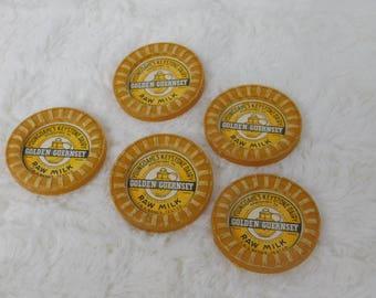 Five Vintage Youngdahl's Keystone Dairy Milk Bottle Caps   misc