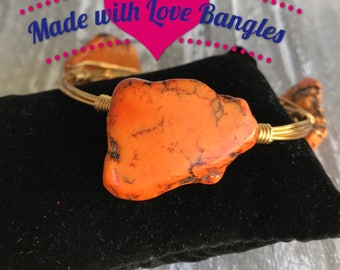 Orange Stone  Wire Wrapped Three Stone Bangle Bracelet Howlite Stone Bangle Bracelet *Bourbon and Boweties Inspired*