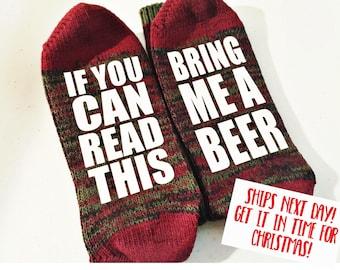 Bring Me a Beer Socks - Beer Socks - Stocking Stuffer for Men -Guy Gift - Christmas Gift for Dad - Funny Socks - Gag Gift - Dad Gift -