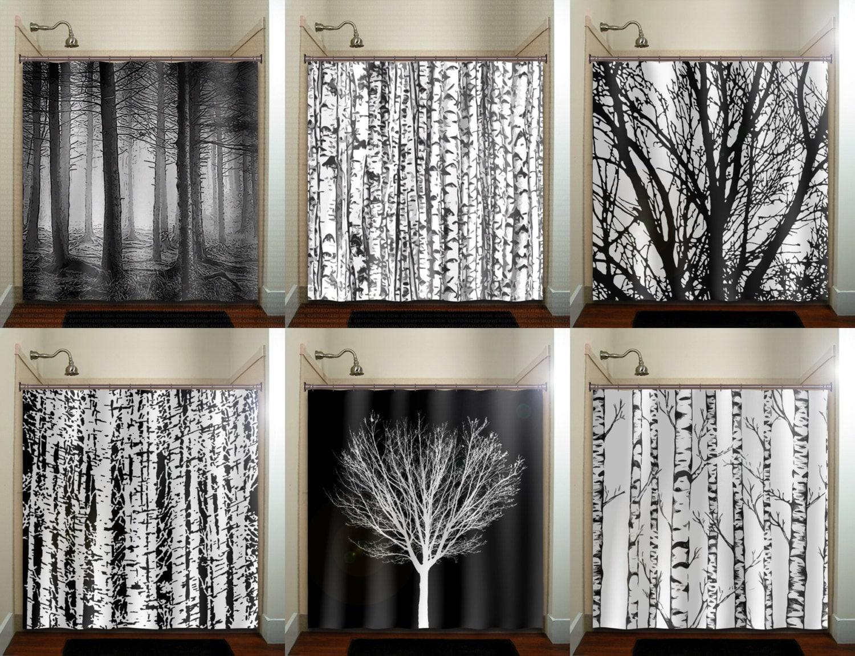 trunk forest white birch trees shower curtain bathroom decor