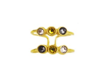 Double ring ellipsis ocean silver gold plated sterling and rhinestone