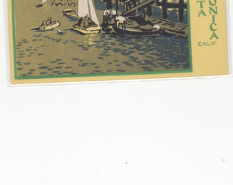 Silkscreen Serigraph Post Card Dubosclard/Sheehan Small Boat Landing, Santa Monica,Ca