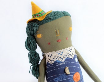 Witch doll, witch rag doll, witch plush doll, Cloth doll, stuff doll, art doll, fabric doll, decorative doll, mothers day gift, women gift
