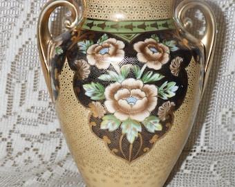 Vintage Noritake Made In Japan Gold Tan Floral Design Vase W/Handles