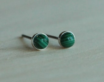 Malachite Gemstone Titanium Stud Earrings / 4mm Cabochon Bezel Set / Hypoallergenic Earrings Studs