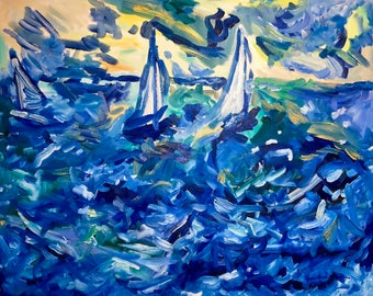 Ocean sailboats blue,teal,green,yellow,orange original oil painting 24 x 30 inch on stretched canvas by BrandanC