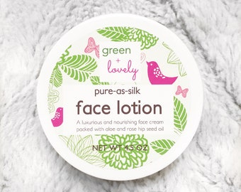 Natural Face Lotion, Aging Formula /// Pure As Silk Natural Face Lotion, Organic Facial, Dry Skin, Rosehip Seed Oil, Aloe Rich, Vitamin C.