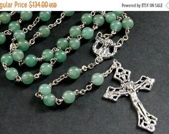 MOTHERS DAY SALE Green Aventurine Gemstone Rosary. Green Rosary Beaded with Silver. Aventurine Rosary. Handmade Rosary.