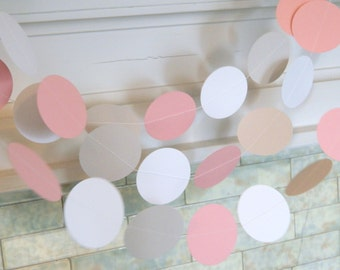 Pink and Gray Baby shower decor - 10ft Pink and Gray circle Garland - Its a Girl Decorations- Bridal shower Decorations - your color choice