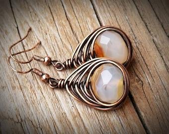 Copper wrapped agate earrings,  handmade earrings BoHo copper FREE SHIPPING