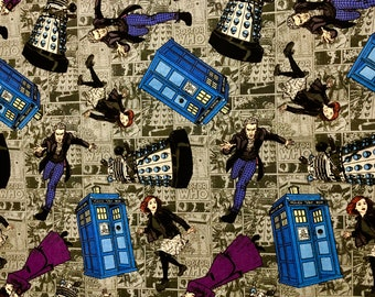 Doctor Who Fabric Various Characters
