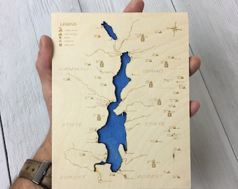 Priest Lake Wooden Map - Small