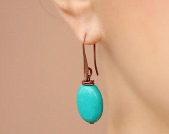 Minimalistic Turquoise Stone Earrings Copper Earrings Natural Turquoise Earrings Oval Turquoise Earrings Simple Earrings Birthday Stone Gift