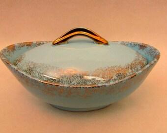 Vintage 1960s Wales Light Blue Candy Dish ~ Made in Japan ~ Ceramic ~ Gold Splatter Trim ~ Condiment