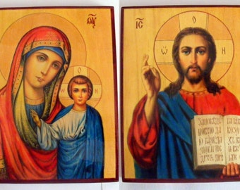 """2 icons, wedding couple, the Mother of God, the Lord 7.0""""x9.6"""" (18x24x2см) hand-painted of hot colors directly on solid wood"""