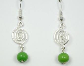 Spring Green Glass with Silver Wirework Earrings