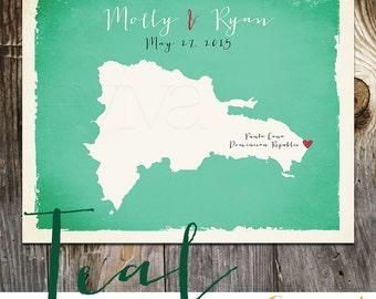 Dominican Republic Custom Wedding Print Destination Wedding Gift Memento Marriage Couple print alternative Signature Guest Books Signatures