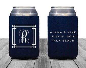 Neoprene Can Coolers, Personalized Coolies, Beach Wedding, Custom Hugger, Wedding Can Coolers, Wedding Logo, Wedding Monogram, 1360