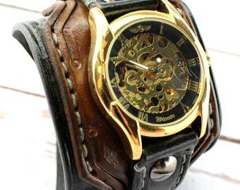 Gold Steampunk watch, Leather wrist watch, Men's watch, Leather cuff watch, Men's gift, Anniversary gift
