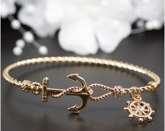 Very Cute Rose Gold Nautical Anchor Bangle Bracelet, Rose Gold-Tone Bangle Bracelet, Birthday Gift, Thank you Gift, Bridesmaid Gift | #RG011