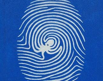 Krake Malerei / Octopus Kunst / Octopus Dekor / abstrakte Acrylmalerei / Hand bemalte Wandkunst / blau und weiß / Ozean Sea Strand Dekor