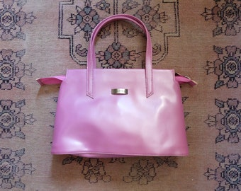 1990s vintage bright pink small top handle handbag bag - Barbie PVC