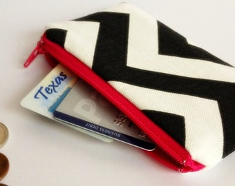 Zippered Coin Purse Wallet - Fabric Business Card Holder - Black Chevron Stripes