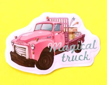 Magical Truck Pink Pickup Classic Vintage Series Pink Skull Vinyl Sticker