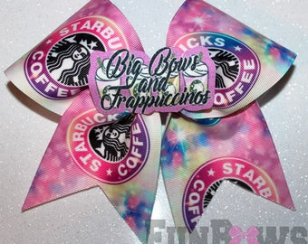 Big Bows and  Frappuccinos Cheer Bow by FunBows ! 3-D center !