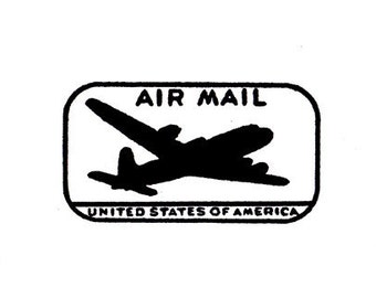 air mail airplane USA rubber stamp