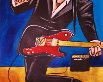 Painting of John Mellencamp Dancing Rock and Roll