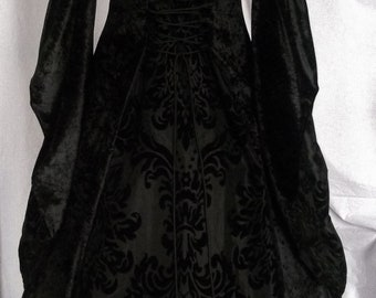 Black Gothic wedding Dress, Medieval gown, Pagan costume, Renaissance Gown, Halloween Dress custom made to any size, Whitby Dress