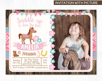 Cowgirl Invitation With Photo, Pony Birthday Invitation, Cowgirl Birthday Party, DIGITAL Invitation, You print!