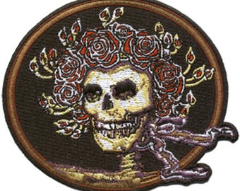 Grateful Dead Patch -Skull and Roses Embroidered Patch/ Iron on / Bertha /