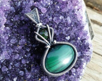 Dark Green Striped Malachite Black Opal Wire Wrapped Pendant Sterling Silver Patina Antiqued Gothic Feminine