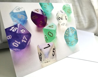Mixed Dice Blank Card, Geeky Card, Nerdy, Board Game, Roleplayer, DnD, Art Card, Greetings Card