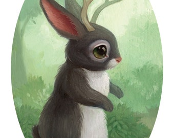 Jackalope - 4x6 Mini Art Print