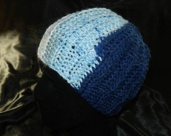 Crocheted in Blue Stripes Small/Child Sized Beanie Hat