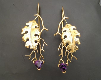 Golden Oak Leaf Earrings with Four Peaks Amethyst