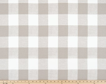 SHIPS SAME DAY Taupe Beige Buffalo Check Fabric, Anderson Ecru Drapery Fabric, Ecru White Plaid Check Fabric Plaid Farmhouse Decor by yard