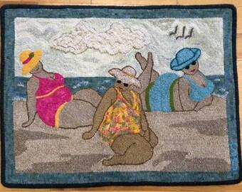"""Handmade Hooked Rug - """"Say Cheese-ies"""" - Artist Original"""