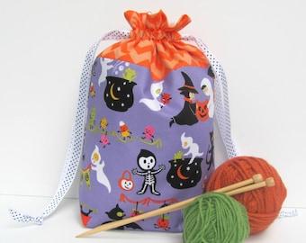Halloween Knitting Bag, Drawstring project bag, Medium crochet bag, Yarn bag or gift for knitter,