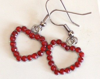 Rhinestone Red Heart Charm Earrings - Womens Valentines Jewelry