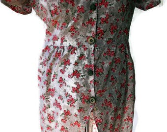 Pink rose shirt dress, made from vintage pattern and vintage fabric is perfect for Spring