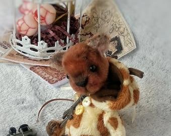"""OOAK  Miniature Bear """"Little Giraffe"""""""